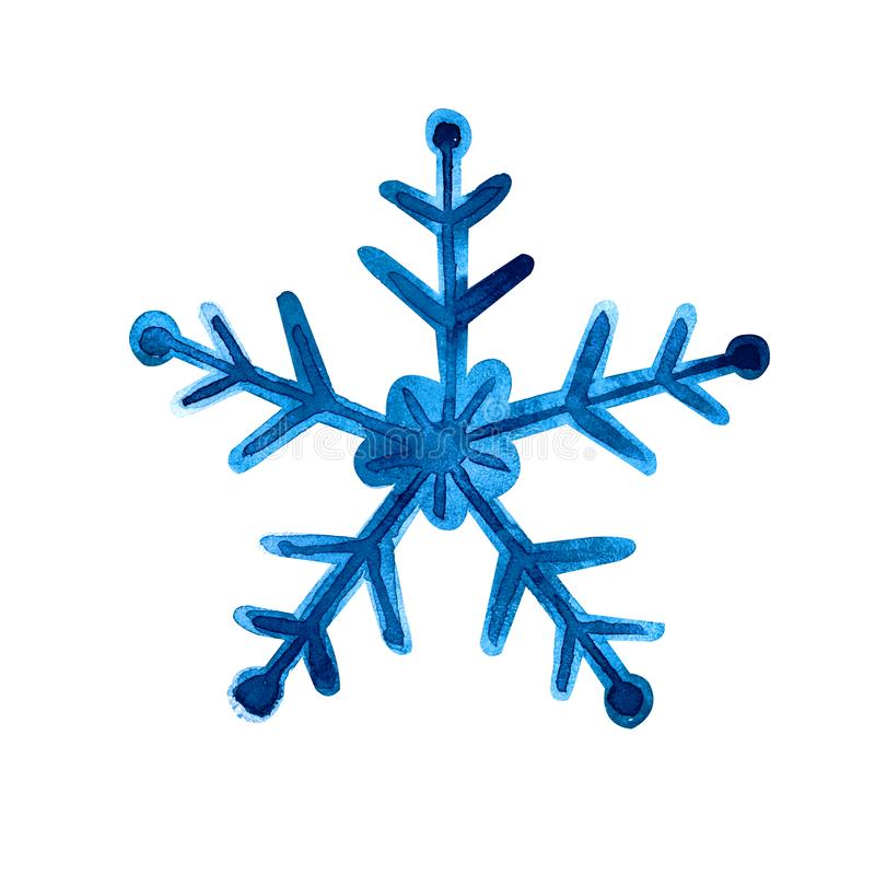 Isolated watercolor blue snowflake on white background. Symbol of winter. Wonderful decoration stock illustration