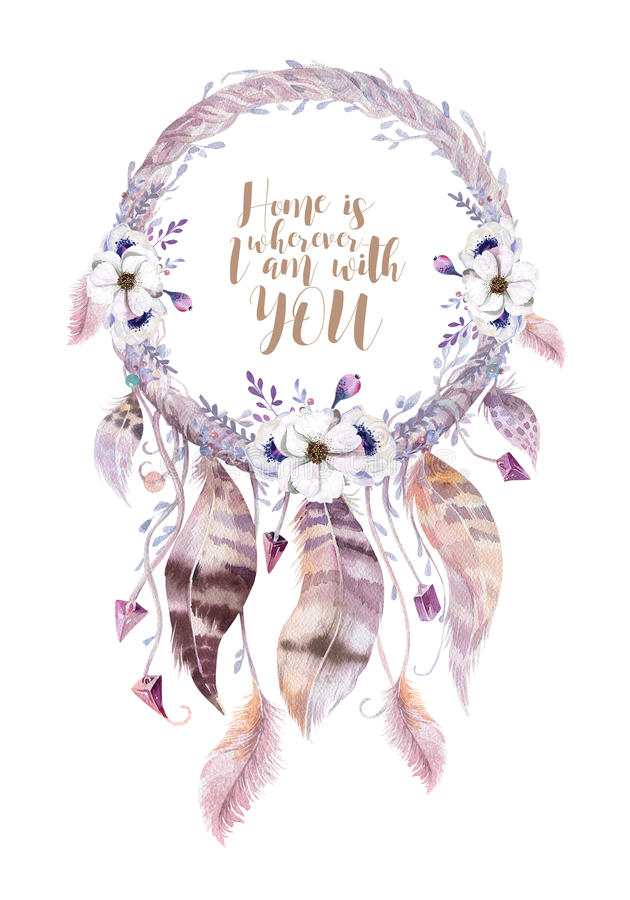Isolated Watercolor decoration bohemian dreamcatcher. Boho feathers. Native dream chic design. Mystery etnic tribal print. Tribal vector illustration