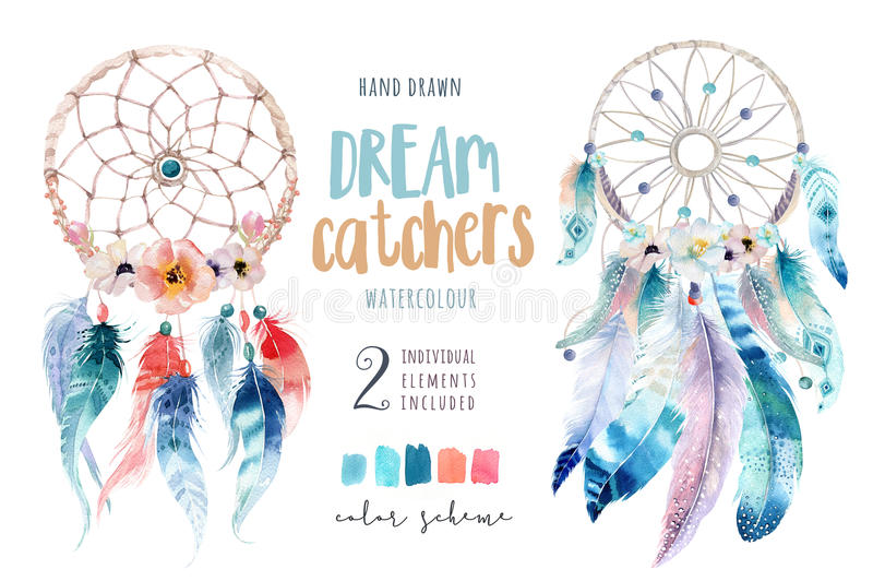 Isolated Watercolor decoration bohemian dreamcatcher. Boho royalty free illustration