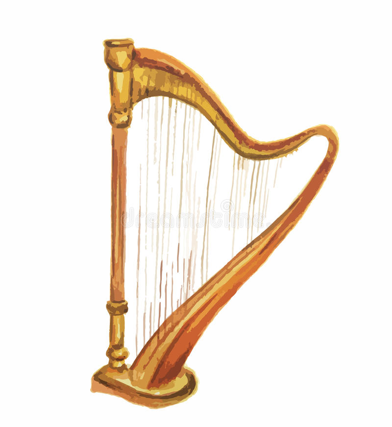 Isolated watercolor harp. royalty free illustration
