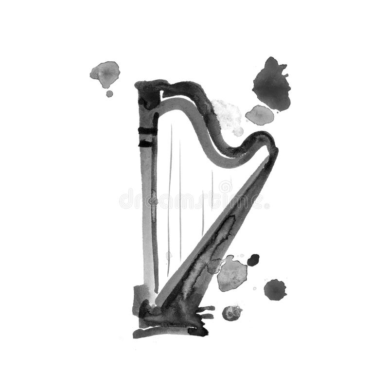 Isolated watercolor harp on white. Beautiful classic instrument. royalty free illustration