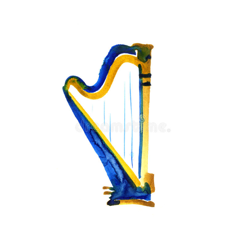 Isolated watercolor harp on white. Beautiful classic instrument. stock illustration
