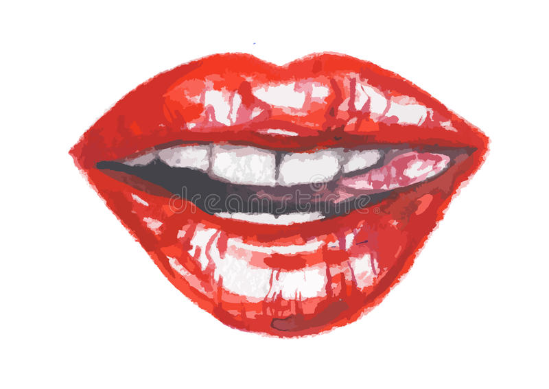 Isolated watercolor lips. And glamour red lips. Make up and fashion. Lips with tongue royalty free illustration
