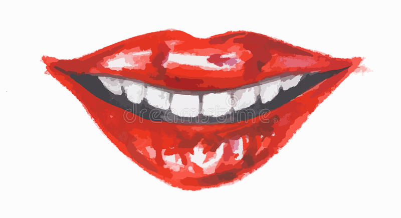 Isolated watercolor lips. And glamour smiling red lips. Make up and fashion. Breath vector illustration