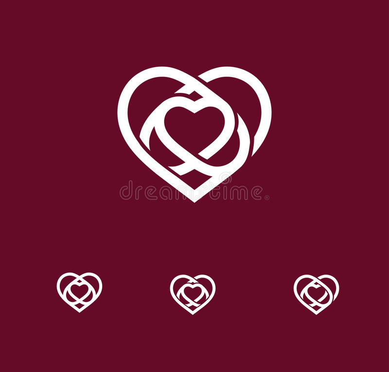 Isolated white abstract monoline heart logo set. Love logotypes. St. Valentines day icon. Wedding symbol. Amour sign vector illustration