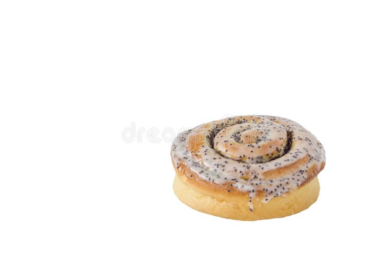 Isolated on white background baked round snail bun cinnamon with white cream and poppy seeds closeup. A isolated on white background baked round snail bun stock photos