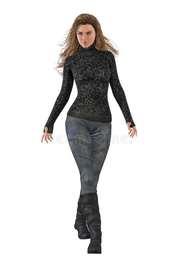Beautiful Urban Fantasy Woman Walking with Arms Outstretched. Isolated on a white background 3D illustration of a beautiful urban fantasy woman walking with her royalty free illustration