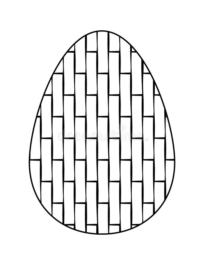 Isolated on white background Easter egg with geometric pattern . Black and white flat icon. Vector vector illustration