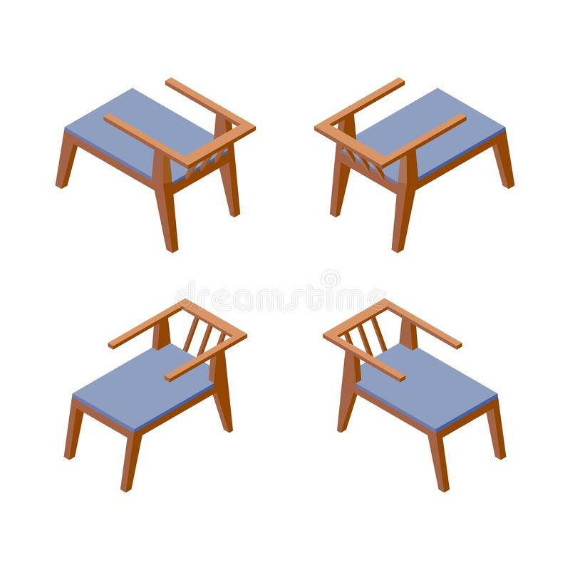 Isolated on white background isometric collection of comfortable chairs, good for hotel or spa resort in blue color. Furniture 3d. Set vector illustration