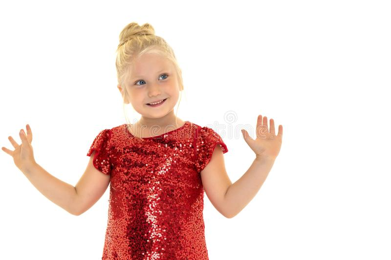 Isolated on white background.Little girl gesticulating. The concept of people, children, childhood. Isolated on white stock photography