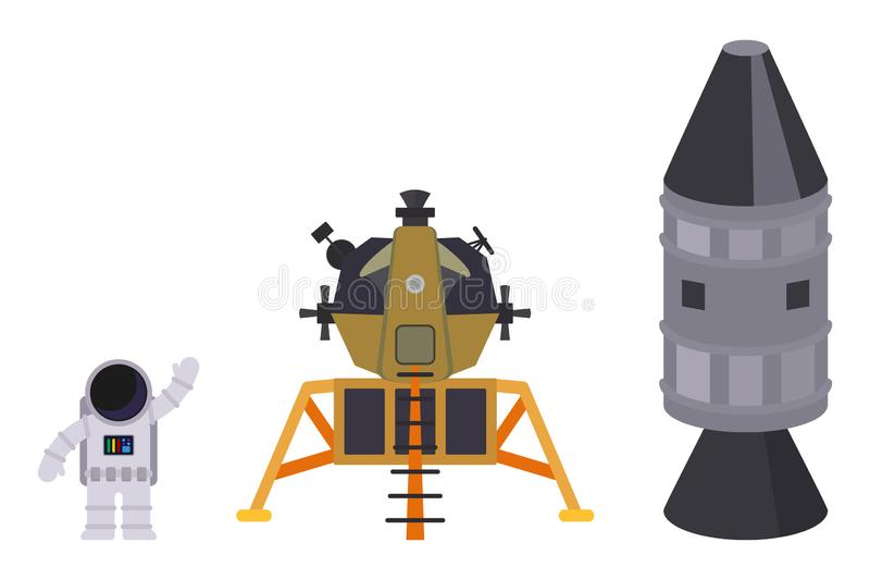 Isolated on white background set of space objects: astronaut, lunar module and rocket. Vector flat illustration royalty free illustration