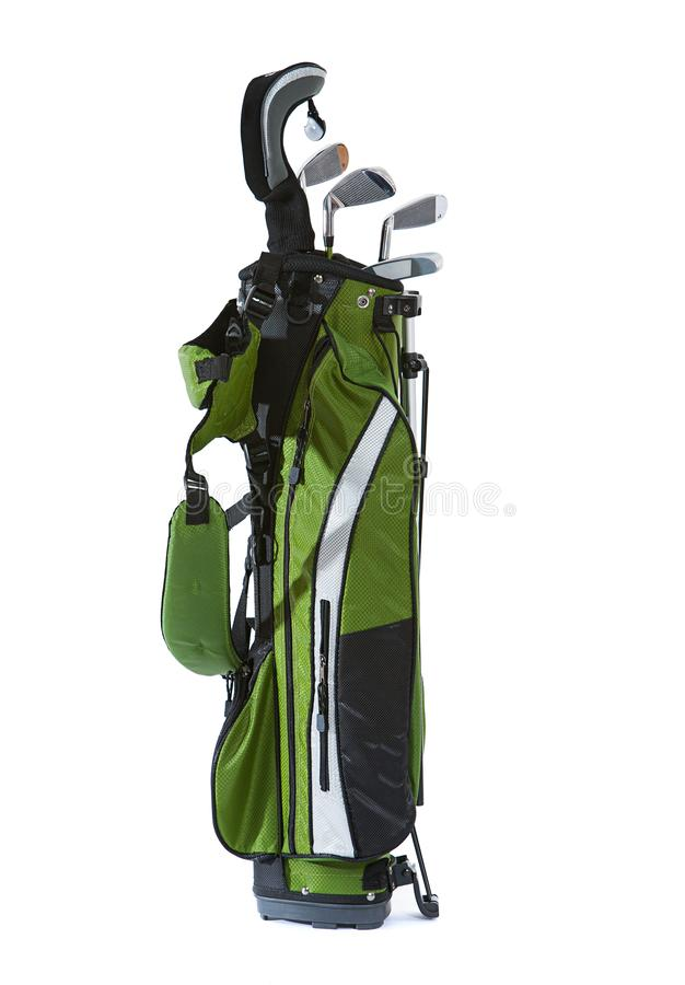 Clubs: Set Of Child`s Golf Clubs With Bag. Isolated on white bag of child sized golf clubs stock images