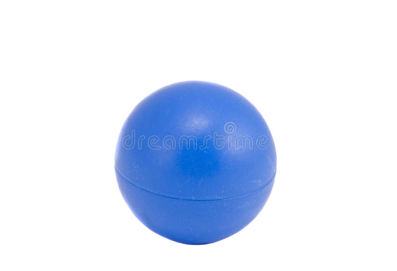 Isolated on white blue plastic ball royalty free stock photo