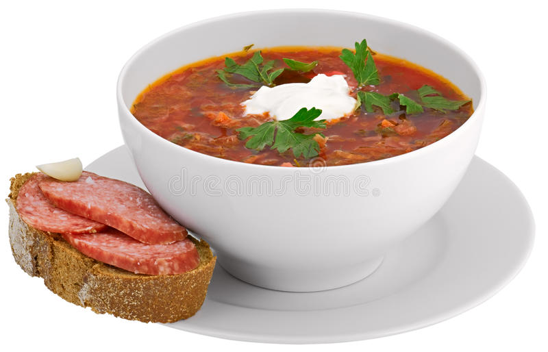 Download Isolated on white  borscht stock image. Image of path - 10143065