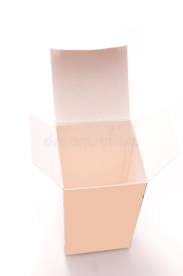 Isolated white box. Isolated cardboard box on white royalty free stock photo