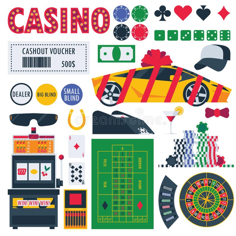 Isolated on white casino equipment as gambling roulette, pocker table, prizes as car and money. Bet games objects.  vector illustration
