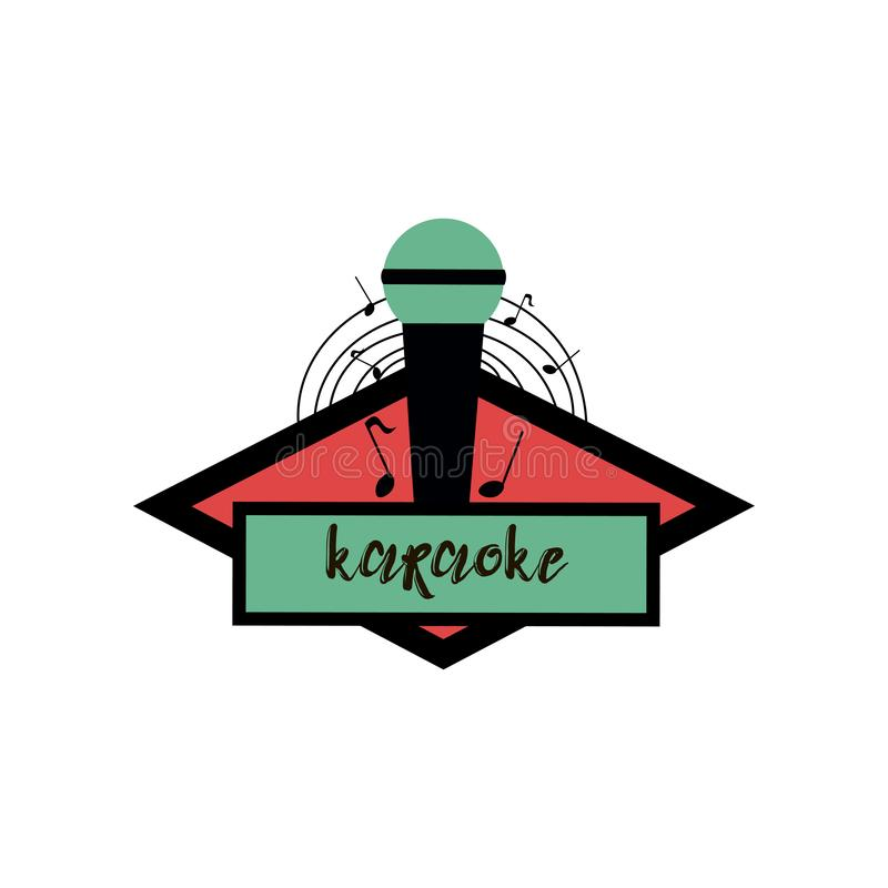 Isolated on white creative karaoke emblem, logo, flyer with green and black standing microphone and circle from notes vector illustration