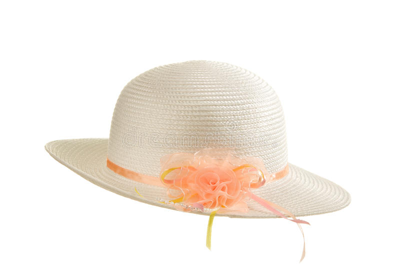 Isolated White Easter Bonnet. Easter Bonnet with a coral ribbon on a white background royalty free stock photos