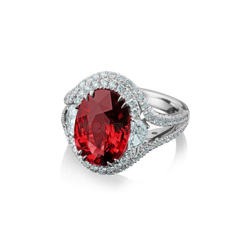 Isolated white gold ring with diamonds and huge red ruby stock image