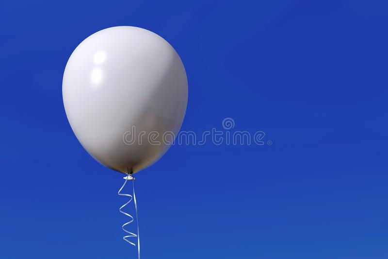 Single helium balloon with ribbon on blue sky. Isolated white helium balloon with shiny ribbons, floating in the blue sky. Celebration, joy, freedom, party royalty free stock image