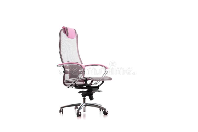 Isolated on white, modern adjustable gray perforated with pink armpad office chair royalty free stock photos