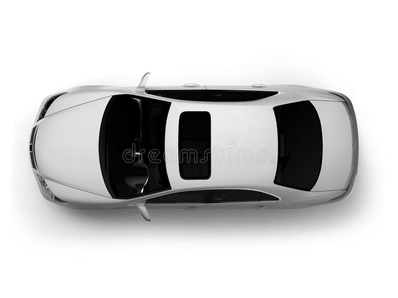 Isolated white modern car top view stock images
