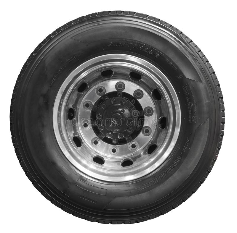 Isolated on white new rear truck wheel on chrome rim with black shine tire. Rear axle mud tire on truck wheel. Car and truck parts royalty free stock photo