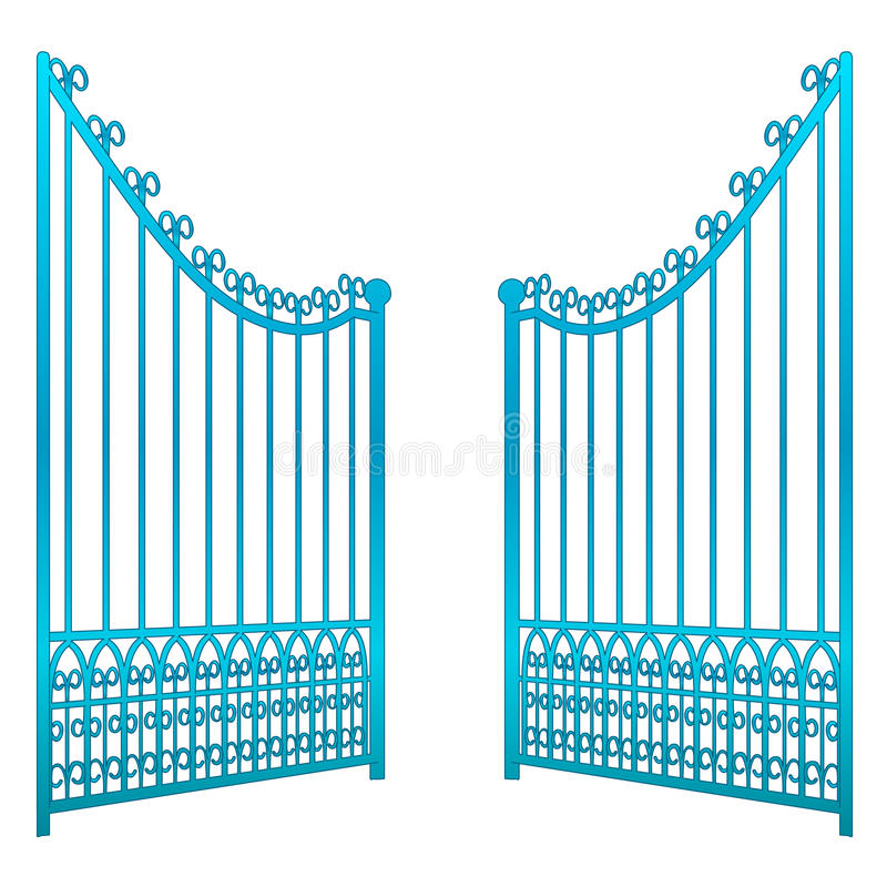 Isolated on white open iron gate fence vector stock illustration