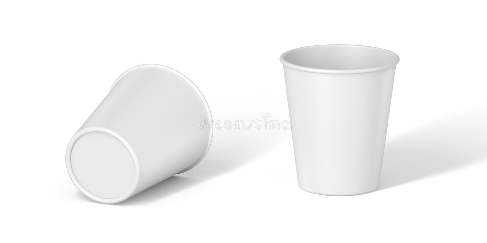 Isolated White Paper Cup on white background. White Paper Cup close up. tasty on white table. Exhibition equipment. Set template for the placement of the logo stock illustration