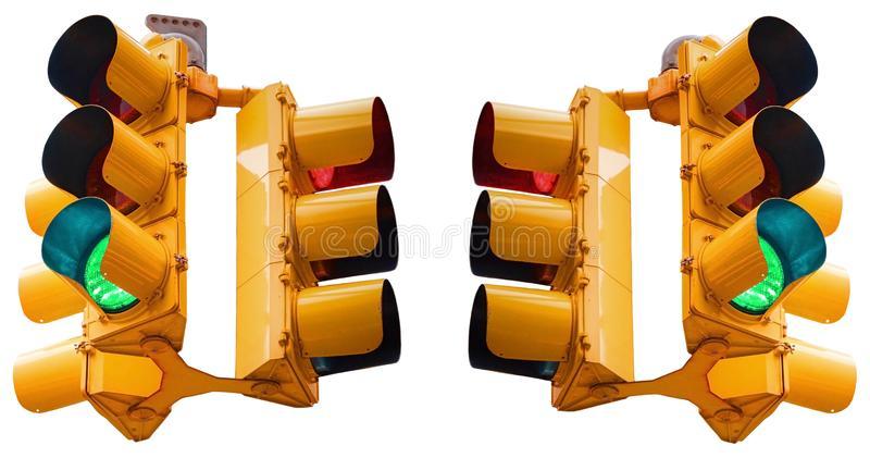 Isolated on white three directions traditional USA yellow traffic light with green and red light. Classical American traffic light stock image