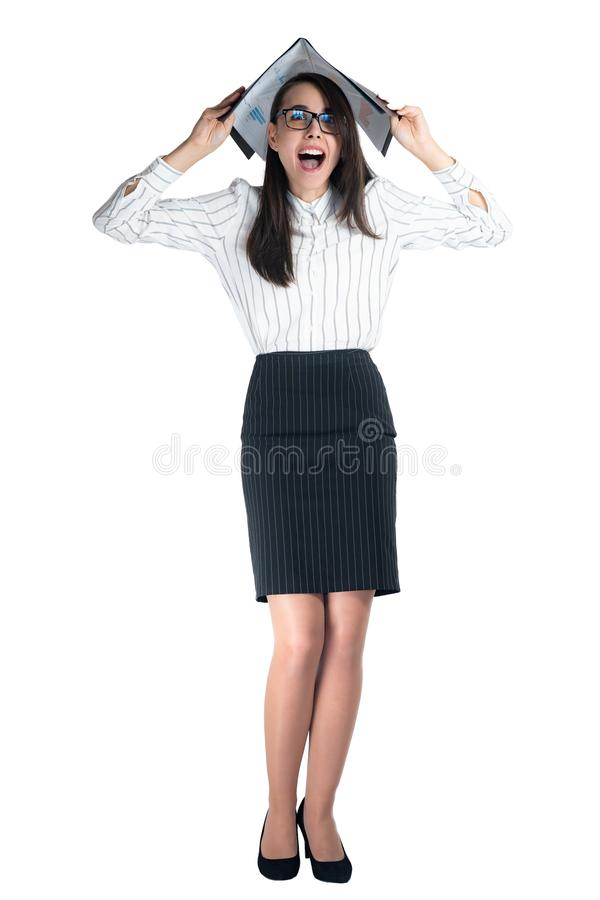 Isolated on white Young business woman gone crazy stock images