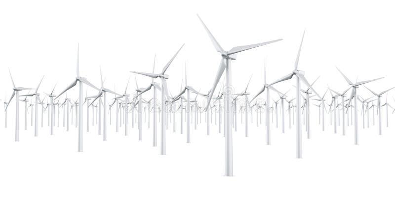Isolated wind turbines stock illustration