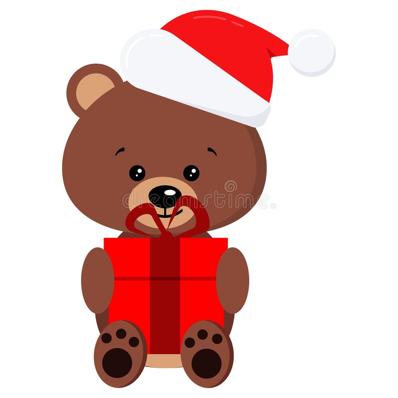 Isolated winter cute baby brown teddy bear toy in sitting pose with red gift and in Santa Claus red christmas hat with royalty free illustration
