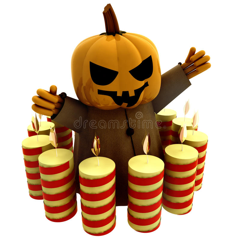 Isolated Witch With Candles In Circle Royalty Free Stock Photography