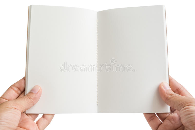 Isolated woman hands hold an open empty notebook. On white background royalty free stock images