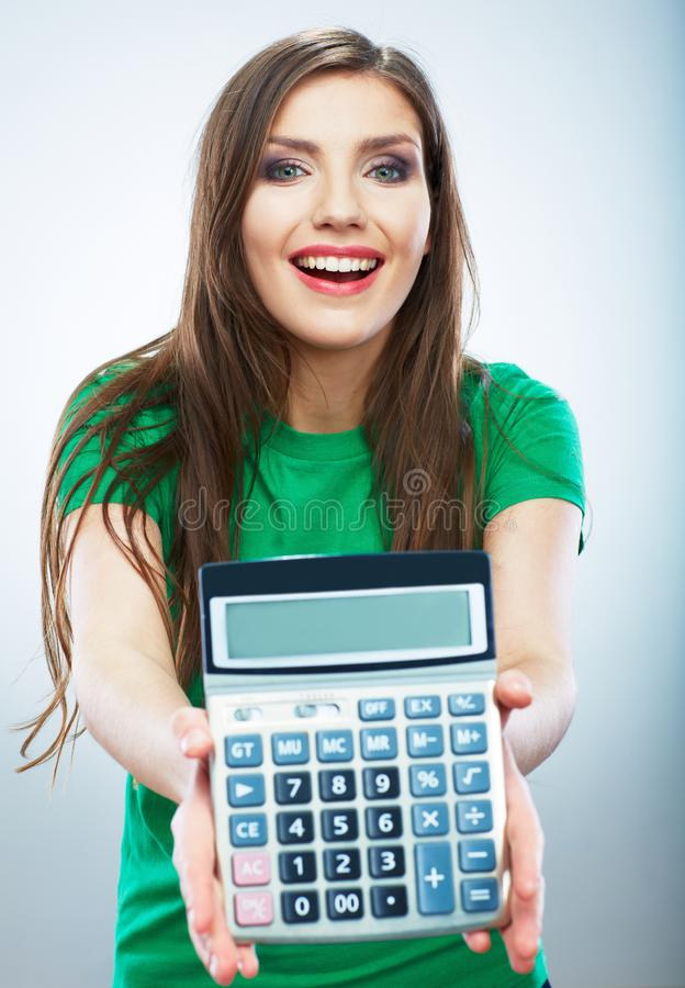Isolated woman hold count machine. Isolated female portrait. Beautiful worker girl stock photography