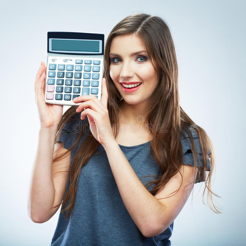 Isolated woman hold count machine. Isolated female portrait. Beautiful worker girl royalty free stock photography