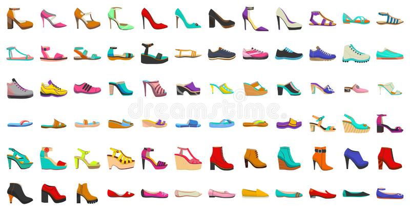 Isolated Women Shoes Set in Cartoon Style vector illustration
