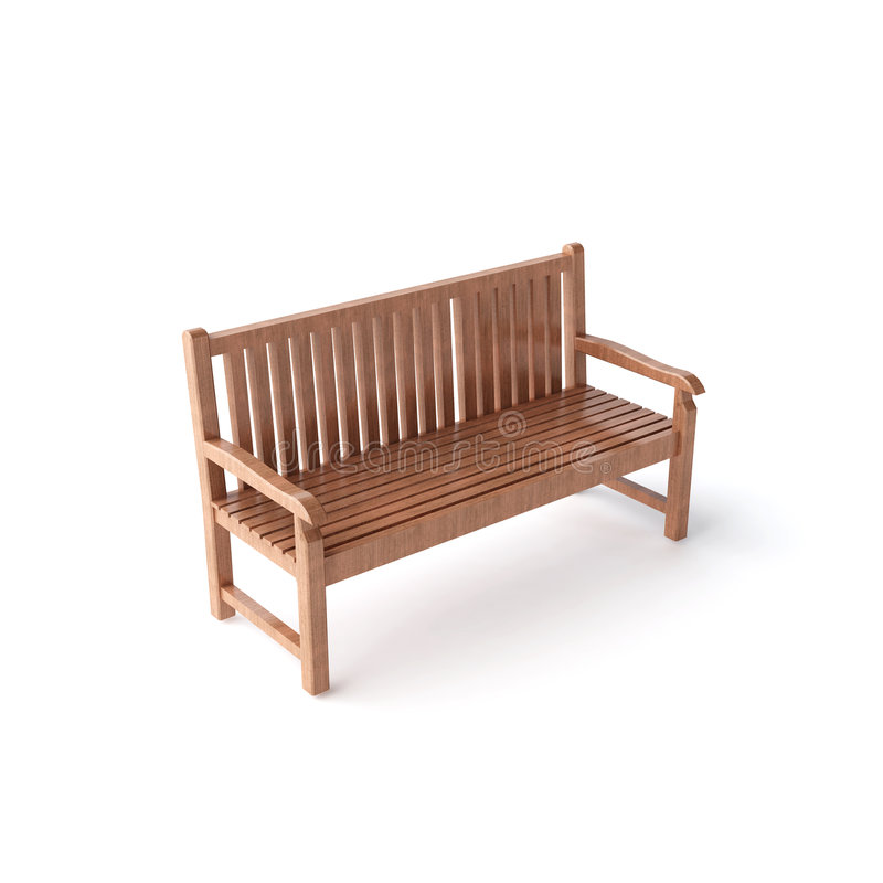 Isolated wood bench royalty free stock photos