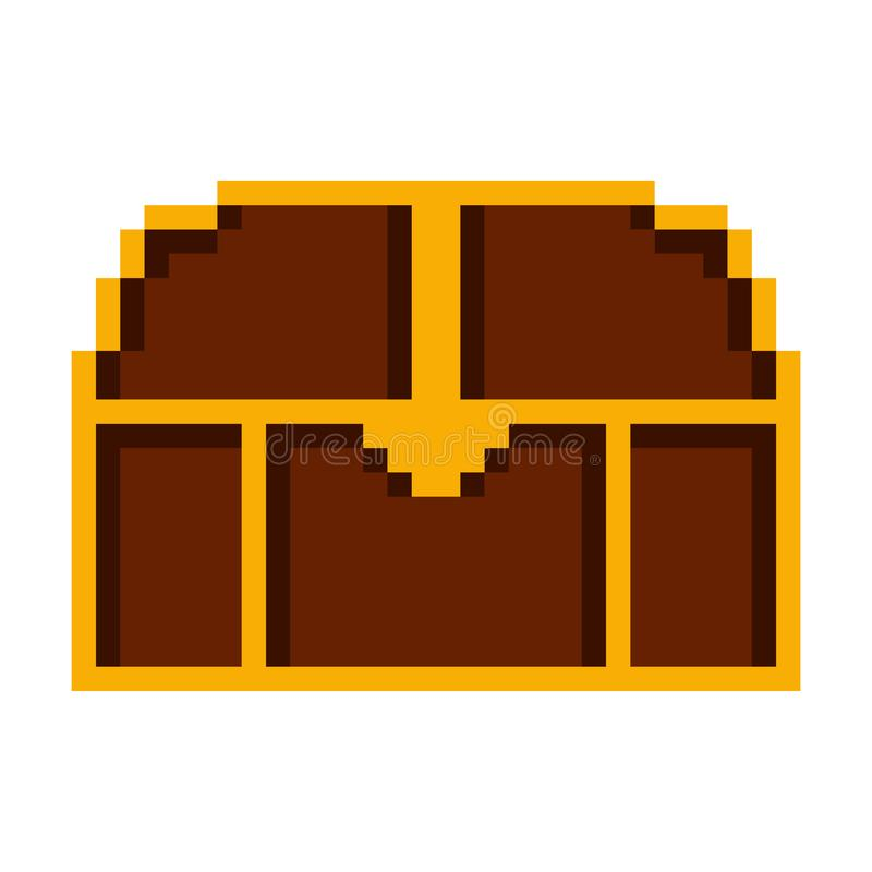 Isolated wooden chest pixelated icon. On a white background - Vector vector illustration