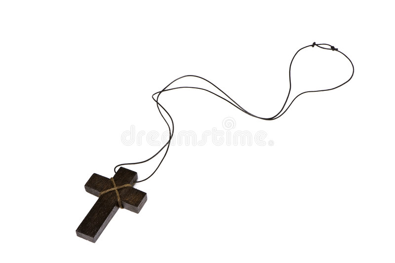 Isolated wooden cross royalty free stock photography