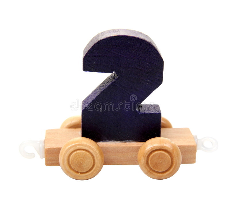 Isolated wooden number two stock images