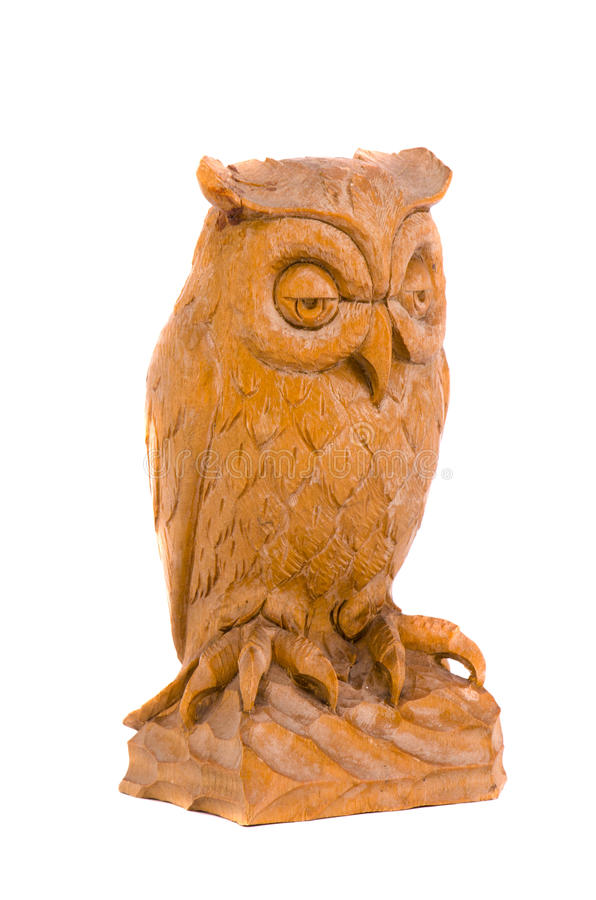 Isolated wooden owl souvenir. Isolated on white wooden owl souvenir stock photography
