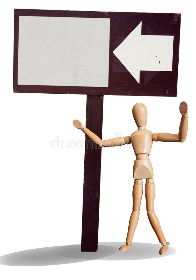 Download Isolated Wooden Puppet Invite With Wood Sign Stock Image - Image: 41108843