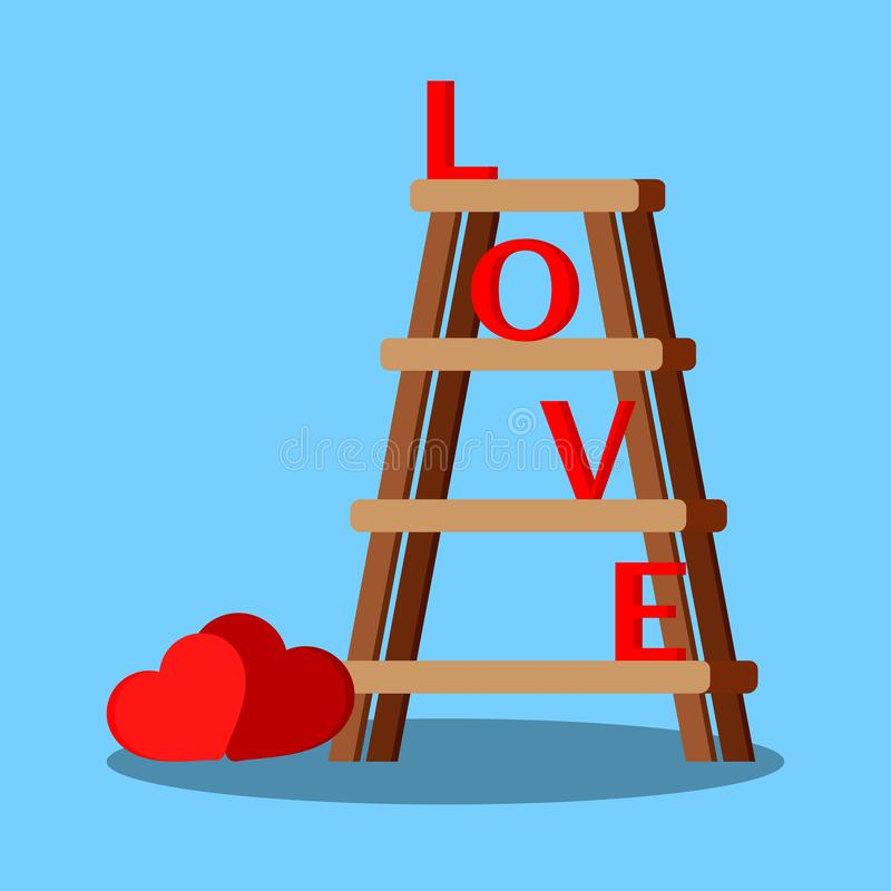 Isolated wooden stepladder with red letters love and hearts vector illustration