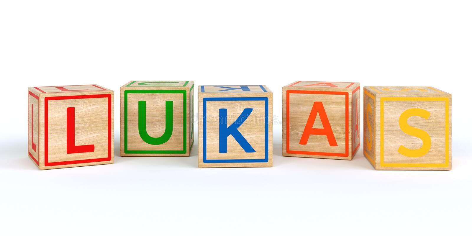 Isolated wooden toy cubes with letters with name lukas royalty free illustration