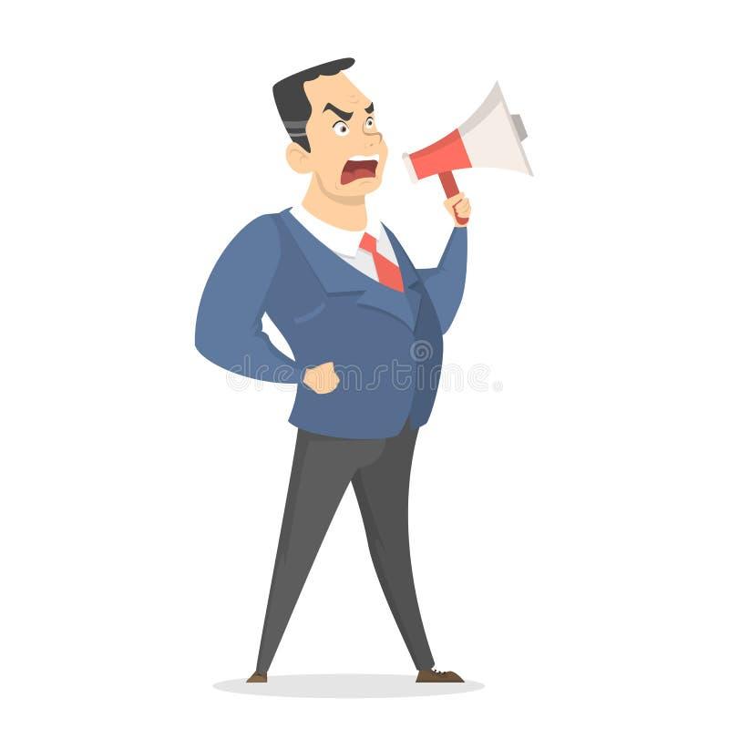 Isolated yelling boss. Isolated yelling boss with megaphone standing on white vector illustration