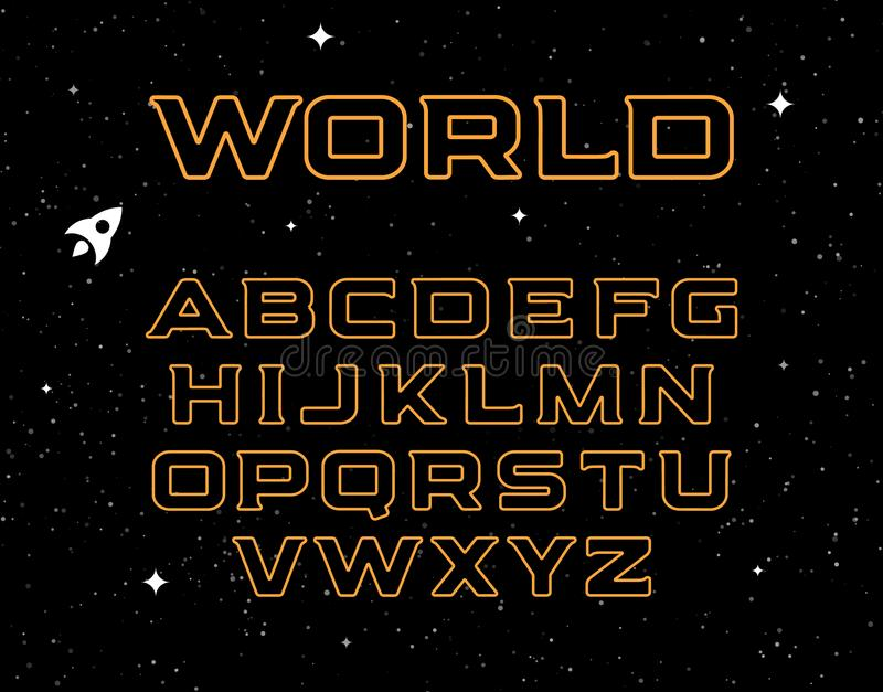 Isolated yellow color alphabet elements on black space background. Graphic illustration of cosmic font and night sky royalty free illustration
