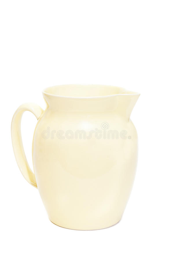 Isolated Yellow Crock With Handle On White Stock Photos