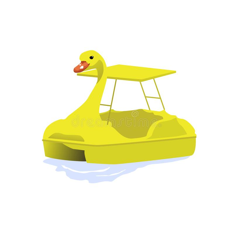 Isolated yellow duck paddle boat on water, vector illustration. Isolated yellow duck paddle boat on water, vector vector illustration
